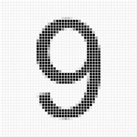 numero nueve: Nueve. El patrón geométrica simple de cuadrados de color negro en forma del número nueve con el marco de sombreado. Conjunto de patrones de puntos para carteles, pancartas, folletos, desolladores, presentaciones,