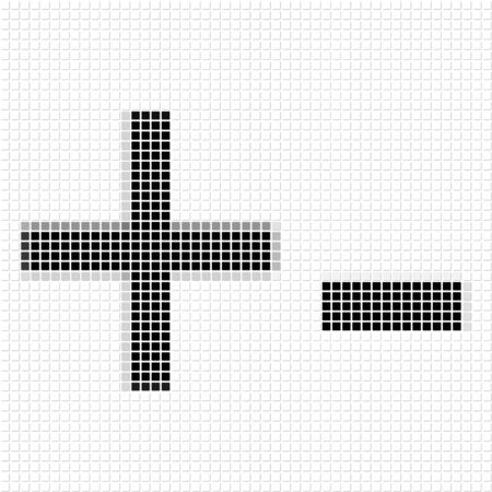 shadowed: Plus, minus.  The simple geometric pattern of black squares in shape of  plus and minus with shadowed frame. Set of dot patterns for posters, banners, leaflets, flayers, presentations Stock Photo