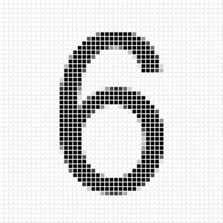 shadowed: Six . The simple geometric pattern of black squares in shape of number six with shadowed frame. Set of dot patterns for posters, banners, leaflets, flayers, presentations,