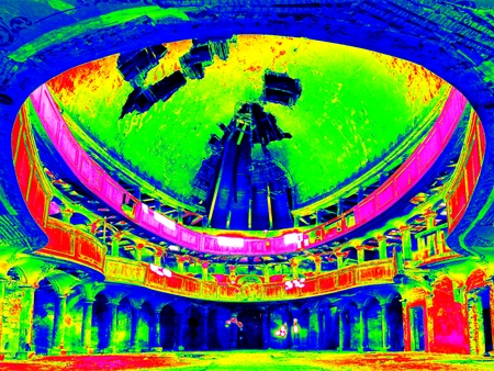 Infra scan, thermography photo. Interior of abandoned  Evangelical church. Broken ceiling, balkony,  stanchions , dirty floor. Ruined abandoned  dome