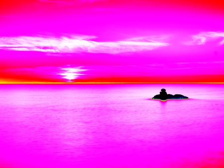 infra: Infra scan, thermography photo. Changed colors into ultra violet light. Stones in warm sea level seen by thermo camera Stock Photo