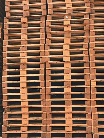 transportation company: Stock of new wooden euro pallets at transportation company. Stock Photo