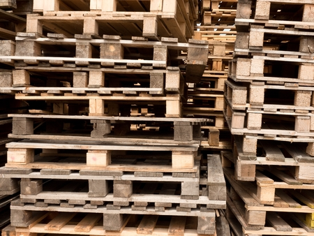 pallets: Wooden shipping pallets with sky background