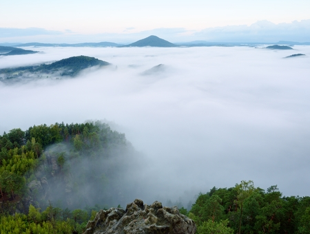 increased: Magnificent heavy mist in landscape. Autumn creamy fog in countryside. Hill increased from fog, the fog is colored to gold and blue