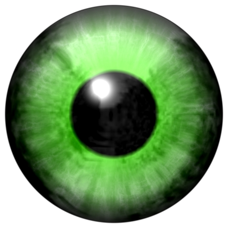 green eye: Isolated big green eye. Illustration of green blue stripped eye iris, light reflection
