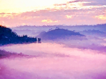 Watercolor paint effect. Majestic peaks of rocks cut lighting mist. Deep valley is full of colorful fog and rocky hills are sticking up to Sun.