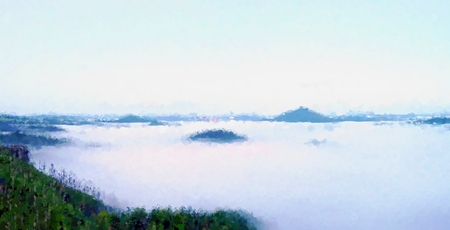 heavy effect: Watercolor paint effect. Magnificent heavy mist in landscape. Autumn creamy fog in countryside. Hill increased from fog, the fog is colored to gold and blue Stock Photo