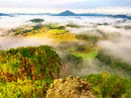 heavy effect: Watercolor paint effect. Spring misty landscape. Morning in beautiful hills of natural park. Rocky peaks Increased from creamy heavy fog.