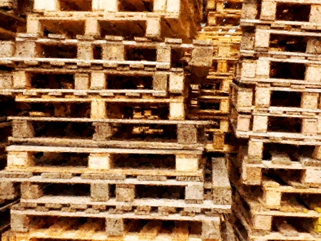euro pallet: Watercolor paint effect. Stacked new wooden pallets in logistic warehouse