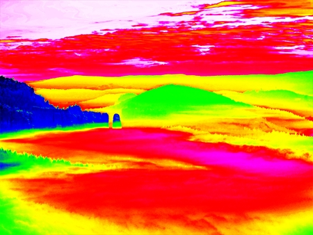 gamma radiation: Amazing photo thermography. Spring misty landscape. Morning in beautiful hills of natural park.