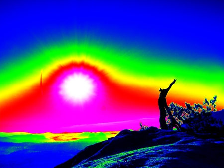 gamma radiation: Amazing thermography photo. Autumn daybreak in sandstone rocks,broken pine tree.  Fall valley Stock Photo