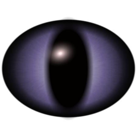 retina: Isolated eye. Raptor blue purple eye with large pupil and bright red retina in background. Dark iris around pupil. Stock Photo