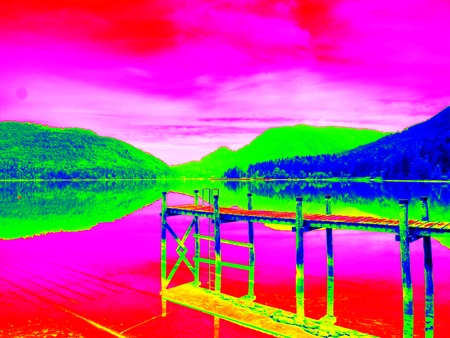 gamma radiation: Amazing thermography photo. Empty wooden mole on blue Alps lake, wharf for hired boats in marina. Ready for trip ships.
