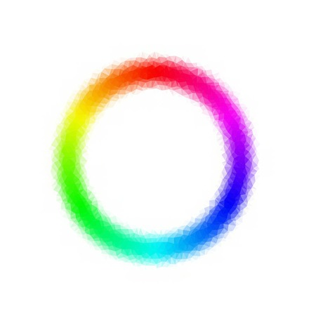 polly: Rainbow colors spectrum circle. Low polly effect. Triangel effect