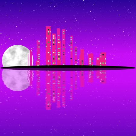moon shadow: Purple night, cityscape illustration with lighting buildings on island, dark skyscrapers Stock Photo