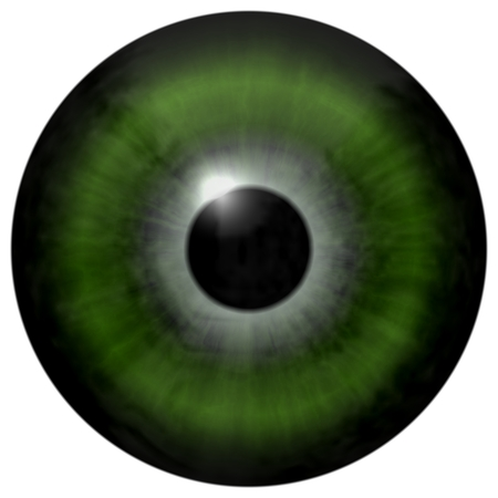 dilated pupils: Isolated green eye. Illustration of green stripped 3D eye iris, light reflection