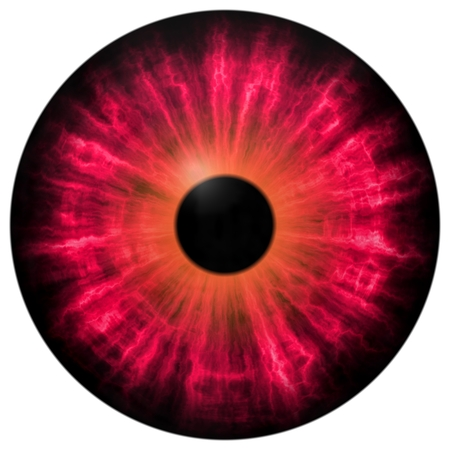 Isolated red circle 3D eye. Big eye with striped iris and dark circle pupil.