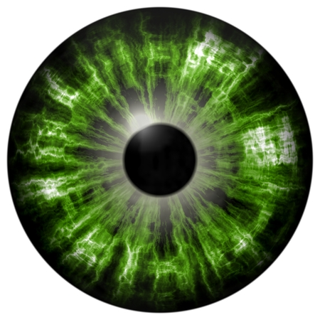 eye 3d: Isolated green eye. Illustration of green stripped 3D eye iris, light reflection