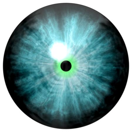 3D illustration of blue eye iris, light reflection