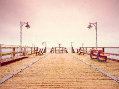 constrution: Watercolor paint effect.  Long touristic mole within autumn misty morning. Wet and slippery wooden floor, constrution  above smooth sea.  Stock Photo