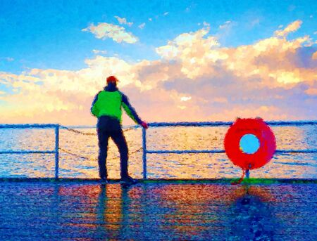 Watercolor paint effect. Man stand at handrail on mole and looking over sea to morning horizon. Sunny blue sky, smooth water level Stock Photo