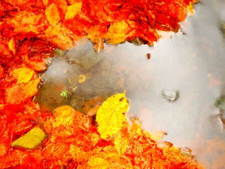Watercolor paint effect. Fallen beech leaves and stones in water of mountain river. Autumn colors. Symbol of fall season.  Orange rotten  leaves Stock Photo
