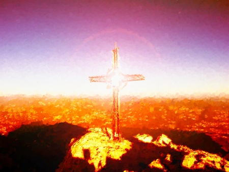 Watercolor paint effect.  Steel crucifix at mountain peak in Alps. Sharp rocky summit, daybreak Sun in sky. Cross raised in memory of victims of mountains.