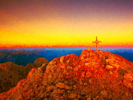 Watercolor paint effect. Steel crucifix at mountain peak in the Alps. Sharp rocky summit, Daybreak Sun in sky. Cross raised in memory of Victims of mountains. Stock Photo