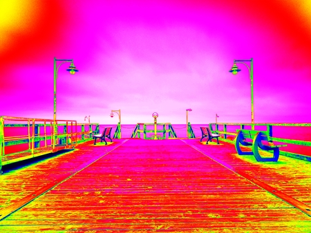 thermography: Ultraviolet  scan. Infrared  photo. Empty wooden mole on blue sea. wharf for hired boats in marina. Ready for trip ships.