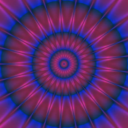 hypnotism: Purple pink shinning neon spike discs on dark background. Rich outlined stroke. Ornate illustration design. Dazzling circle sphere energy field
