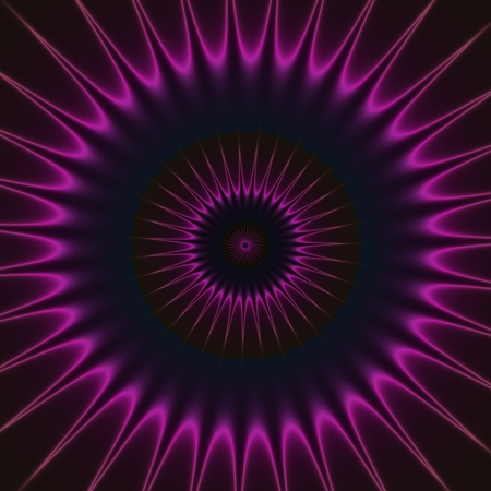 shinning: Purple pink shinning neon spike discs on dark background. Rich outlined stroke. Ornate illustration design. Dazzling circle sphere energy field