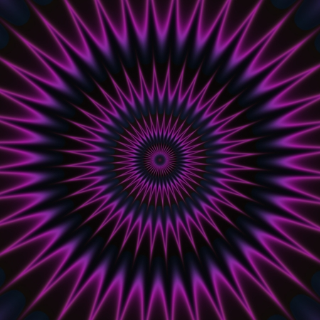 hypnotism: Purple neon pink shinning spike discs on dark background. Rich Outlined stroke. Ornate design illustration. Dazzling circle sphere Energy Field Stock Photo
