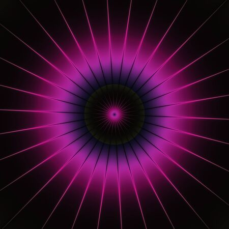shinning: Purple neon pink shinning spike discs on dark background. Rich Outlined stroke. Ornate design illustration. Dazzling circle sphere Energy Field Stock Photo