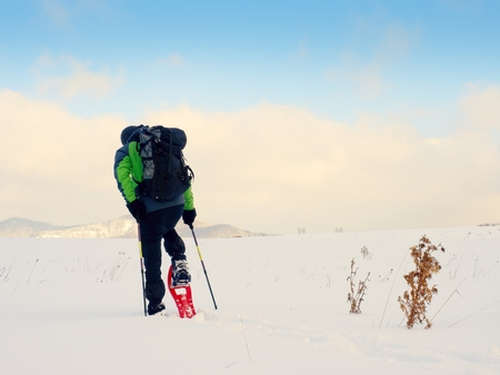 Man cleaning snowshoe. Hiker in green gray winter jacket and black trousers trekking walk in snowy filed. Snowshoeing in powder snow. Sunny winter day, gentle wind Brings small snow flakes Stock Photo