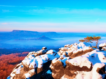 Pink daybreak in hilly landscape. Early winter misty morning in  beautiful rocky hills. Peaks of hills in heavy fog. Miracle of nature Stock Photo