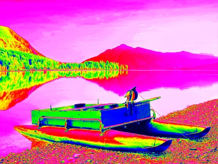 Ultraviolet  scan. Infrared  photo. Abandoned red gray fishing boat on bank of Alpine  lake. Autumnal morning