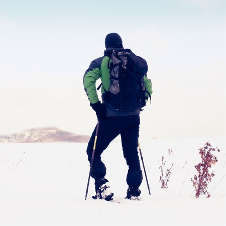 snowshoes: Man with snowshoes walk in snowy filed. Hiker in green gray winter jacket and black trousers trekking snowshoeing in powder snow. Sunny winter day, gentle wind Brings small snow flakes Stock Photo