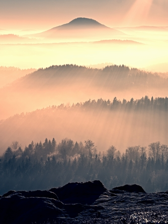 Fall daybreak. Misty awakening in a beautiful hills. Peaks of hills are sticking out from foggy landscape
