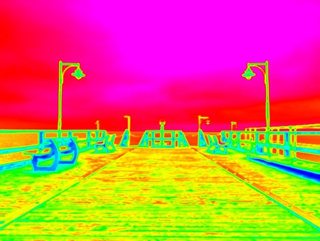Amazing thermography photo. Empty wooden mole in sea wharf. Sea wharf for hired boats in marina. Empty sea bridge Stock Photo