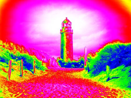 fantastical: Infra scan, thermography photo. Lighthouse tower above sand dunes by sea. Seascape and landscape.  Animal view effect. Stock Photo