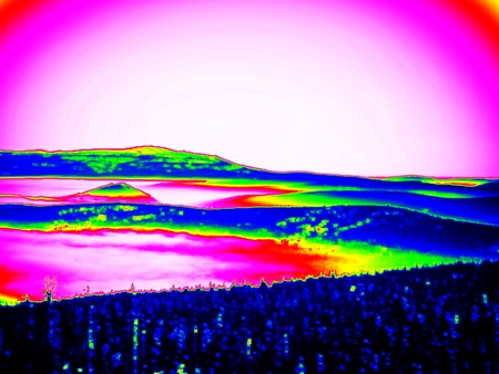 gamma radiation: Thermography photo. Animal view. Spring misty landscape. Hills, forest and fog with changed colors to ultraviolet.