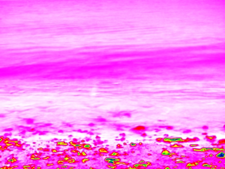 thermal imaging: Thermography measurement, changed colors of ultra violet light. Stony ocean beach with big boulders. Thermography effect. Stock Photo