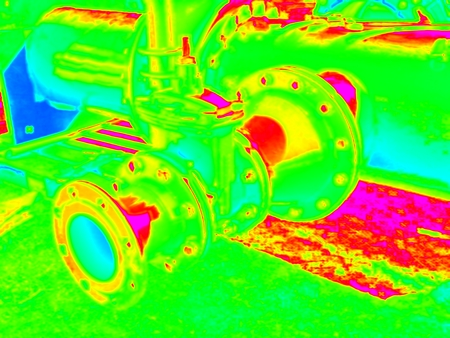 Infra scan, thermography photo. Drink water pipes joined with Gate valves and new multi joint members. View under ground. City water service company Stock Photo