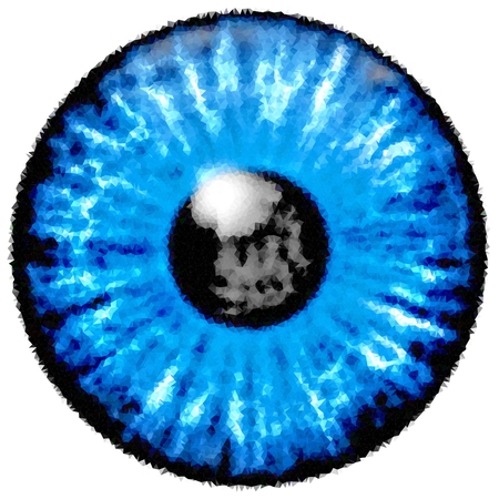 Low poly design. Illustration of blue eye iris, light reflection.