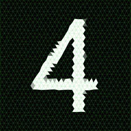 letterpress words: Low poly design. Abstract polygonal number built from bright green triangles. Low poly alphabet collection. Number four