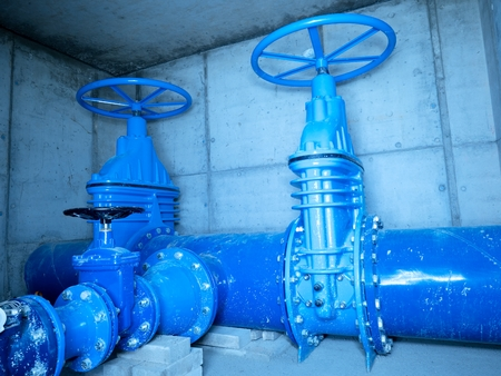 ductile: City water pipeline, water supply company. Underground concrete shafts Gate valve with 500 mm, 250 mm Armature branch. The dring water Water service and network maintenance.