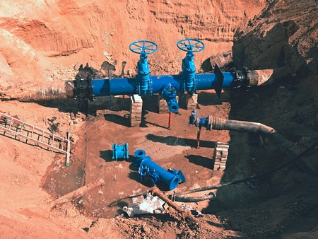 shafts: Reconstruction of main City water supply pipeline in underground. 500mm water pipeline with gate valves, 250mm branch. Repairing of leak due to extreme corrosion.