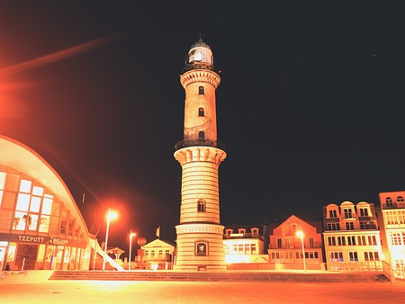 November 2016. Warnemunde town with Lighthouse,  Germany.