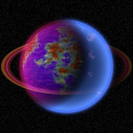 Shinning planet in far unifers. Abstract planet with colorful ring somewhere in space.