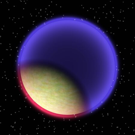Lost planet in the far corner of universe. A planet with shinning atmosphere hidden  somewhere in dark space